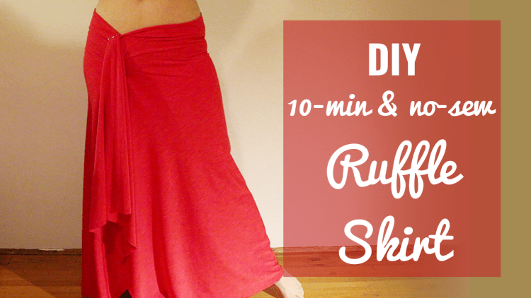 DIY 10 minute no sew ruffle skirt