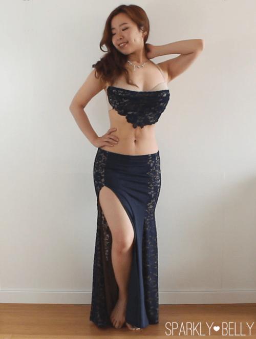 DIY lace side panel color block mermaid skirt