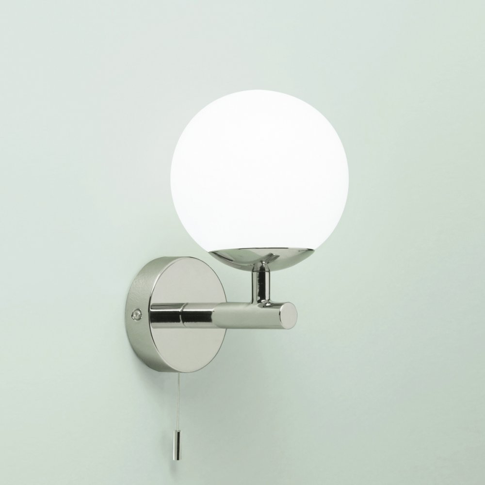 California IP44 Wall Light With Round Opaque White Shade And Pull Cord Wall Lights LED