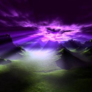 Purple Clouds With light shining through