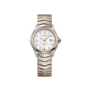 Dames horloge met automatisch uurwerk uit de Ebel Wave collection - uitgevoerd met een bicolour kast en band en een parelmoer wijzerplaat met datum - De Ebel collectie is verkrijgbaar bij Sparnaaij Juweliers in Aalsmeer
