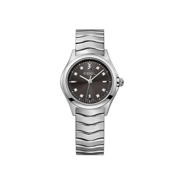 Dames horloge uit de Ebel Wave collection - uitgevoerd met stalen kast en band en een grijze wijzerplaat voorzien van briljant - waterdicht tot 50 meter - De Ebel collectie is verkrijgbaar bij Sparnaaij Juweliers in Aalsmeer