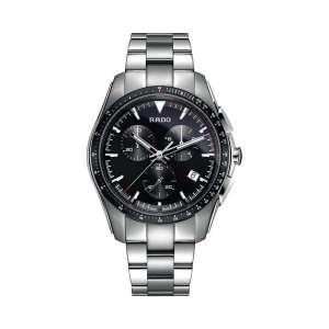 Heren horloge uit de Rado HyperChrome collection - uitgevoerd met een stalen kast en band, een zwarte wijzerplaat en chronograph - De Rado collectie is verkrijgbaar bij Sparnaaij Juweliers in Aalsmeer