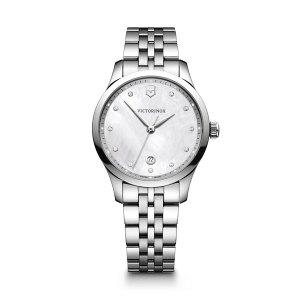 Dames horloge uit de Victorinox Alliance Small collection - uitgevoerd met een stalen kast en band en een parelmoer wijzerplaat - voorzien van een quartz uurwerk en saffier glas - waterdicht tot 100 meter - De Victorinox collectie is verkrijgbaar bij Sparnaaij Juweliers in Aalsmeer