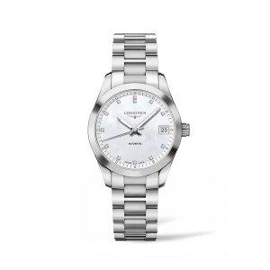 Dames horloge uit de Longines Conquest Classic collection - uitgevoerd met een stalen kast en band en een parelmoer wijzerplaat met diamant op de index - voorzien van een automatisch uurwerk - waterdicht tot 50 meter - De Longines collectie is verkrijgbaar bij Sparnaaij Juweliers in Aalsmeer
