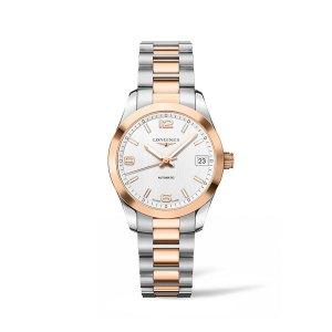 Dames horloge uit de Longines Conquest Classic collection - uitgevoerd met een bicolour kast en band en een parelmoer wijzerplaat - voorzien van een automatisch uurwerk - waterdicht tot 50 meter - De Longines collectie is verkrijgbaar bij Sparnaaij Juweliers in Aalsmeer