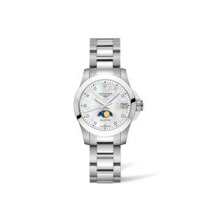 Dames horloge uit de Longines Conquest collection - uitgevoerd met stalen kast en band - een parelmoer wijzerplaat met diamanten index en een maanphase - voorzien van een quartz uurwerk - De Longines collectie is verkrijgbaar bij Sparnaaij Juweliers in Aalsmeer