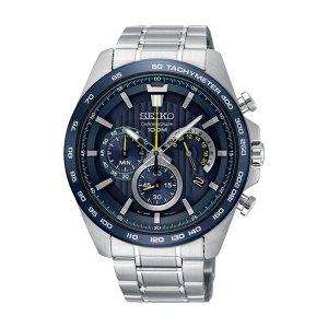 Heren horloge uit de Seiko collectie - uitgevoerd met stalen band en kast en een blauwe wijzerplaat - voorzien van een quartz uurwerk met chronograph - De Seiko collectie is verkrijgbaar bij Sparnaaij Juweliers in Aalsmeer en Hoofddorp