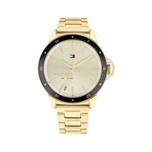 Tommy Hilfiger horloge - Goudkleurig horloge met een beige wijzerplaat en een zwarte rand eromheen - Te koop bij Sparnaaij Juweliers in Aalsmeer