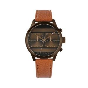 Tommy Hilfinger herenhorloge - Met een bruine lerenband en bronze kast en wijzerplaat - Te koop bij Sparnaaij Juweliers in Aalsmeer