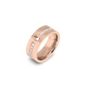 Roségoudkleurige Melano twisted flat cz ring met zirkonia steentjes - Te koop bij Sparnaaij Juweliers in Aalsmeer en Hoofddorp
