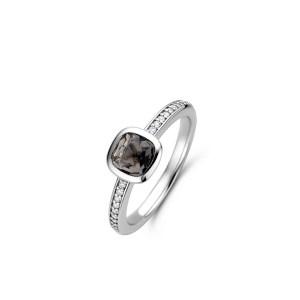 zilveren ring met grijsblauwe steen en zirkonia's - Te koop bij Sparnaaij juweliers in Aalsmeer en Hoofddorp