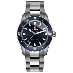 Stalen Rado horloge met blauwe kast - Te koop bij Sparnaaij Juweliers in Aalsmeer