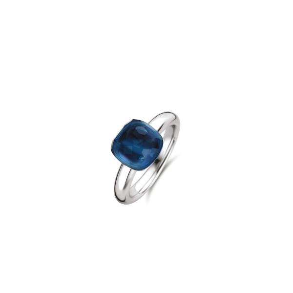 Zilveren ring van Ti Sento met Blauwe kleursteen - Te koop bij Sparnaaij Juweliers in Aalsmeer en Hoofddorp