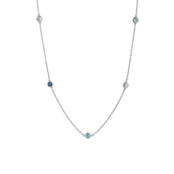Zilver collier van Ti Sento met turquoise en blauwe stenen - Te koop bij Sparnaaij Juweliers in Aalsmeer en Hoofddorp