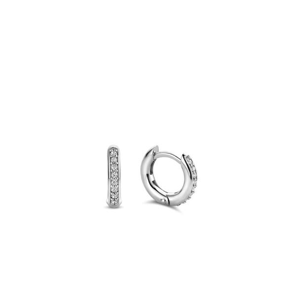 Zilveren creolen van Ti Sento met ingezette zirkonia - Te koop bij Sparnaaij Juweliers in Aalsmeer en Hoofddorp