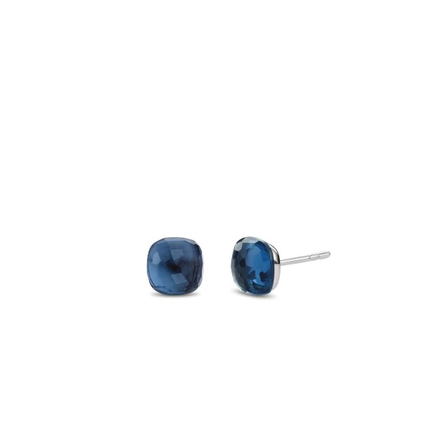 Zilveren oorknopjes van Ti Sento met donkerblauwe steen - Te koop bij Sparnaaij Juweliers in Aalsmeer en Hoofddorp