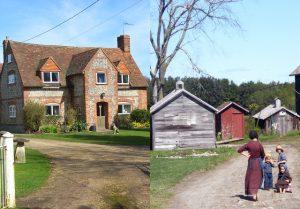 Left, an English farmhouse. Right, an Amish farmhouse