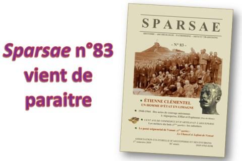 VIENT DE PARAITRE : SPARSAE n°83 – mars 2019 : au sommaire…