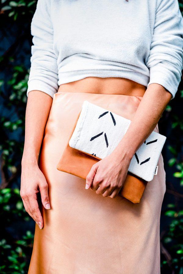 Mudcloth clutch bag leather tan