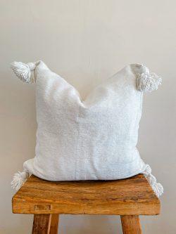 Pom Pom pillow Moroccan Spases throw pillow white beige