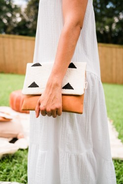 Spases Mudcloth clutch bag leather tan