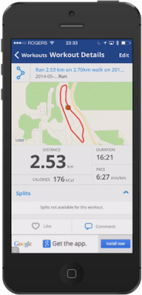 MapMyFitness app on iPhone 5