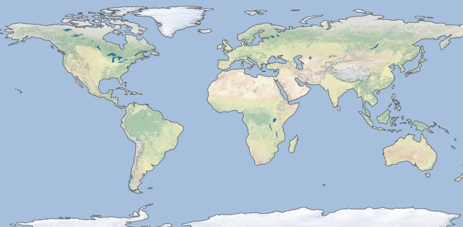 Very basic physical map of the world