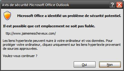 Avertissement Outlook