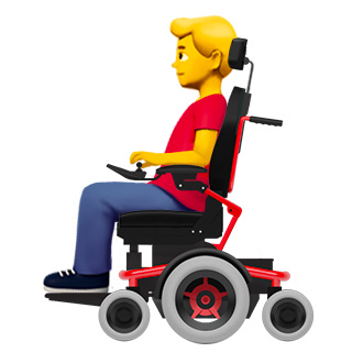 Apple-mechanized wheelchair-man