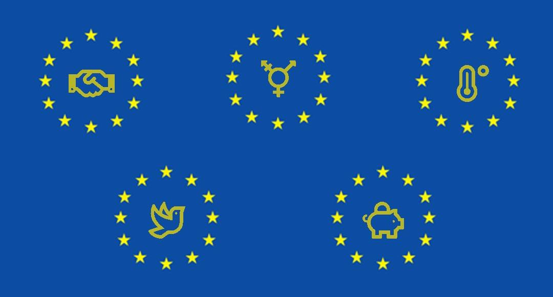 Europawahl, Europa ist unsere Verantwortung, Europa ist die Antwort, Frieden, soziale Sicherheit, Gleichstellung, gerechte Steuern, Klimaschutz