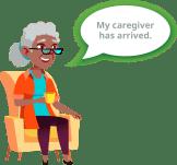 pictured elderly woman using Speak2 to monitor activity