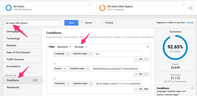 Google Analytics Segment Conditions