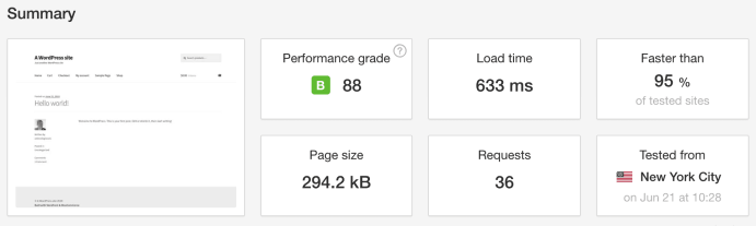 Pingdom Speed Test WooCommerce Managed Host