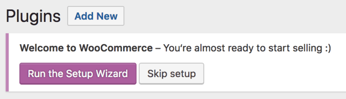 WooCommerce Setup Prompt