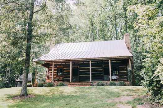 Log Home Slanted Metal Roof