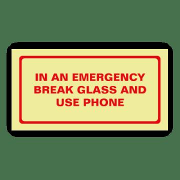 emergency break glass safety sign