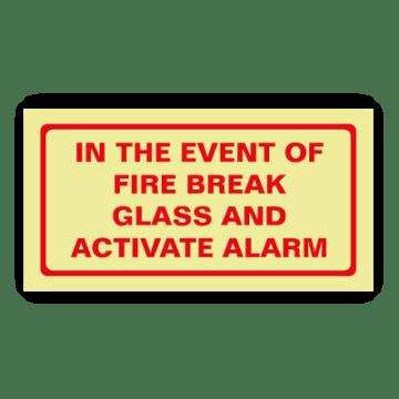 fire break glass safety sign
