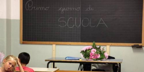L'aula di una scuola a Brescia, il primo giorno di scuola, 14 settembre 2009. (©Lapresse)