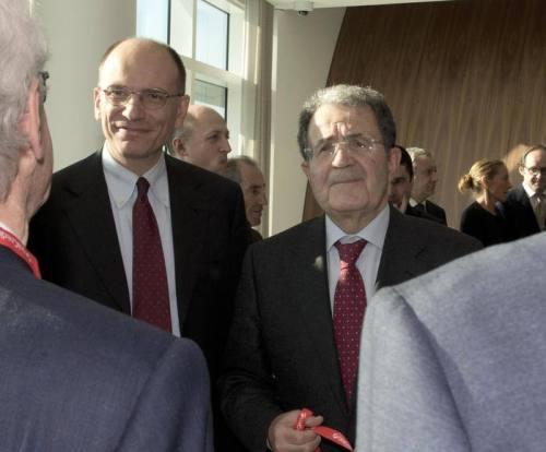 Enrico Letta, con Romano Prodi ansa