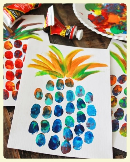 Pineapple thumbprint craft. Featured by Special Learning House. www.speciallearninghouse.com.jpg