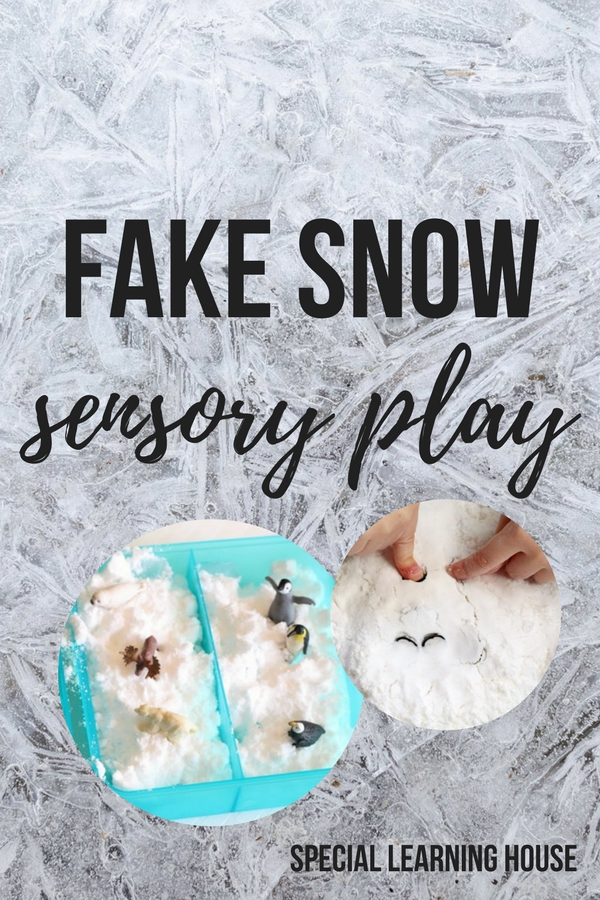 Fake snow sensory play #autism #spd #adhd #sensoryplay