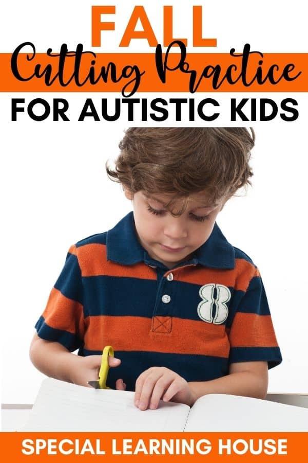 Fall cutting activities for kids - little boy cutting a sheet of paper