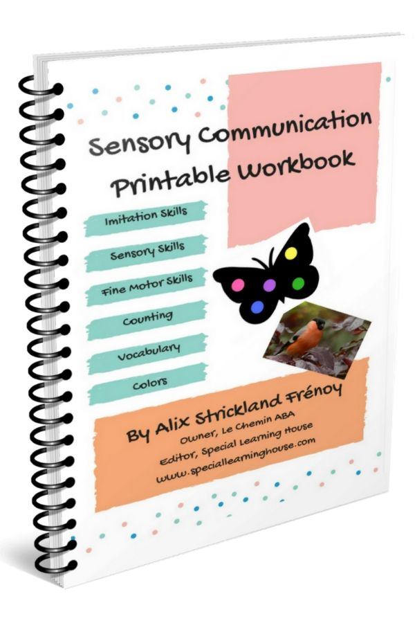Colorful cover of the Sensory Communication Workbook for Kids with Autism