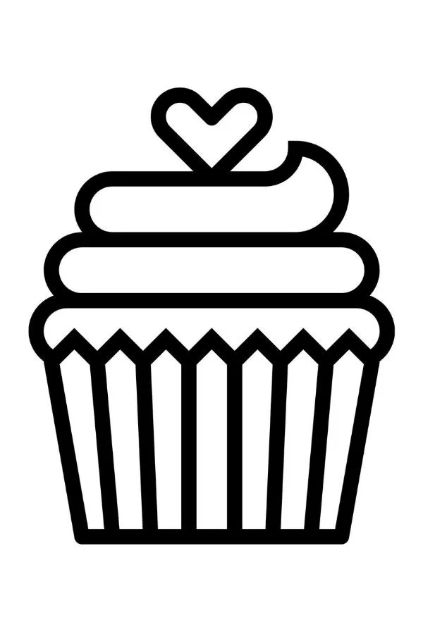 Free Printable Valentine's Day Coloring Pages Cupcake