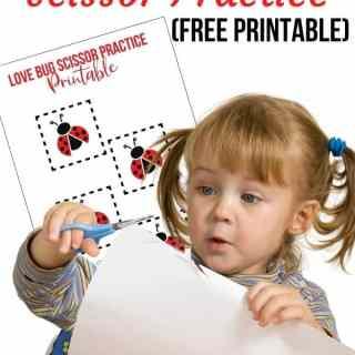 Love Bug Printable Scissor Practice 2