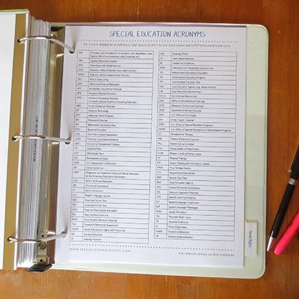 IEP Binder Tool Kit, IEP Organizer