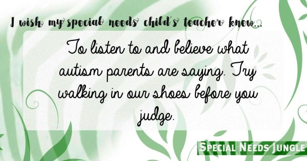 """To listen to and believe what autism parents are saying. Try walking in our shoes before you judge."""