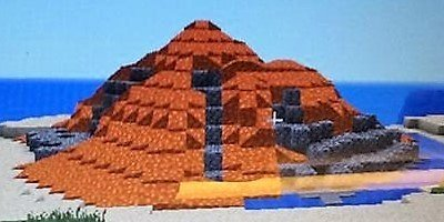 A volcano built in Minecraft during one of our school visits