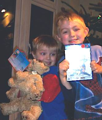 The boys on Christmas Day back in 2004